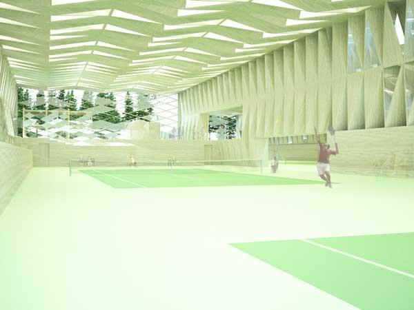 Lys gennem løvfang danner inspiration for ny tennishal