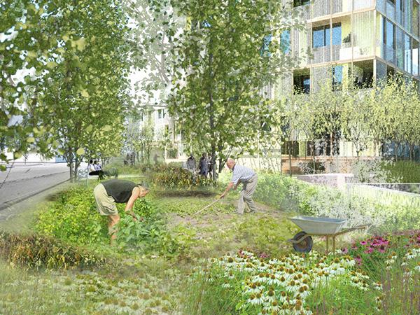Små haver som pixels i et billede