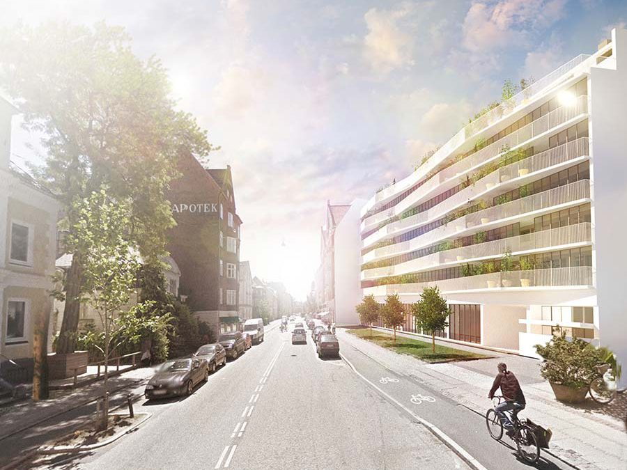 Transformation af facade med grøn profil på Frederiksberg